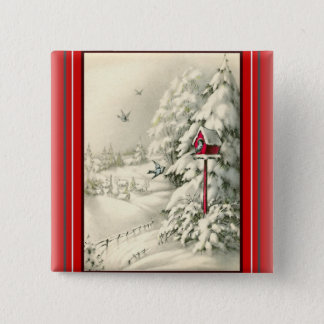 Vintage Christmas ~Winter Wonderland Red Birdhouse 2 Inch Square Button