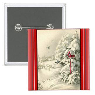 Vintage Christmas ~Winter Wonderland Red Birdhouse 2 Inch Square Button