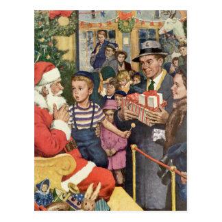 Vintage Christmas Wish Boy on Santa s Lap Postcards