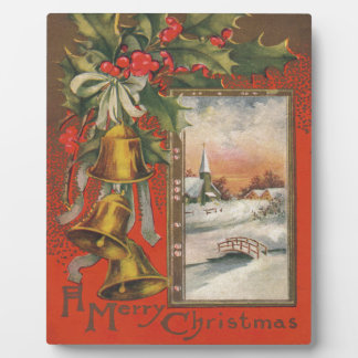 Vintage Christmas with Bells, Holly, Village Photo Plaques