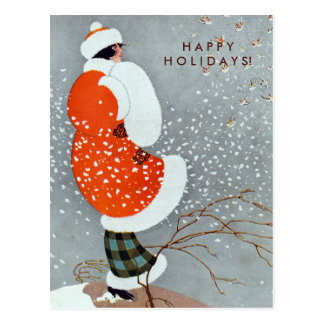 Vintage Christmas Woman in Red Coat with Birds Postcard