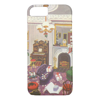 Vintage Christmas Wrapping Presents in Living Room iPhone 7 Case