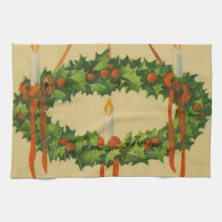 Vintage Christmas Wreath Chandelier Hand Towel