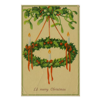 Vintage Christmas Wreath Chandelier Poster