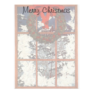 Vintage Christmas Wreath in a Window with Snow Customized Letterhead
