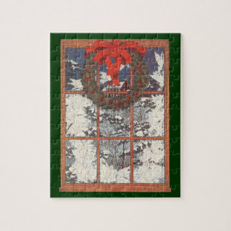 Vintage Christmas Wreath in a Window with Snow Jigsaw Puzzle
