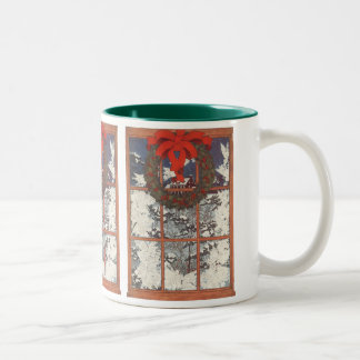 Vintage Christmas Wreath in a Window with Snow Two-Tone Coffee Mug