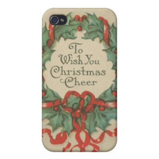 Vintage Christmas Wreath with Wishes Case For iPhone 4