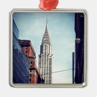 Vintage Chrysler Building Silver-Colored Square Ornament
