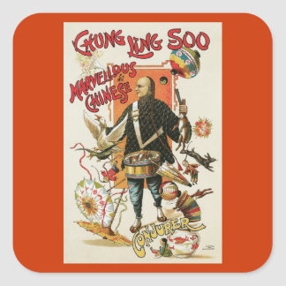 Vintage Chung Ling Soo Magician Poster Square Sticker