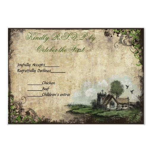 Vintage Church Green Vintage Wedding RSVP Announcement