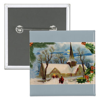 Vintage Church in winter Pin