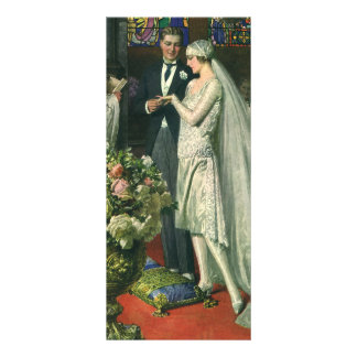 Vintage Church Wedding Ceremony; Bride and Groom Rack Card