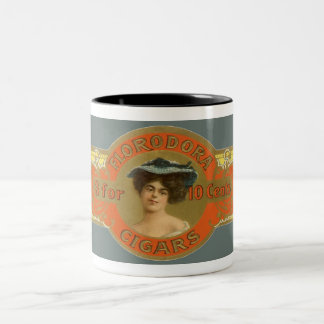 Vintage Cigar Band Label Art, Florodora Cigars Two-Tone Coffee Mug