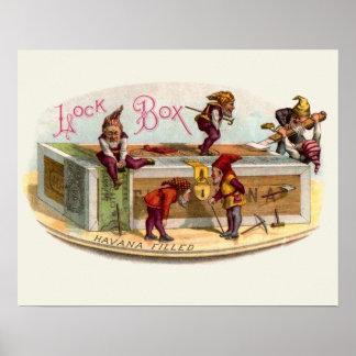 Vintage Cigar Box Gnomes Print