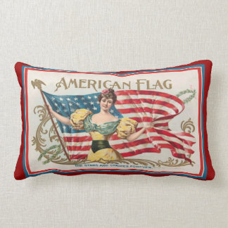 Vintage Cigar Box Label - American Flag Throw Pillow