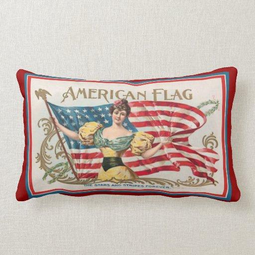Vintage Cigar Box Label - American Flag Throw Pillow