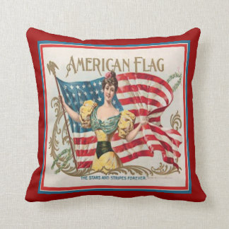 Vintage Cigar Box Label American Flag Pillow