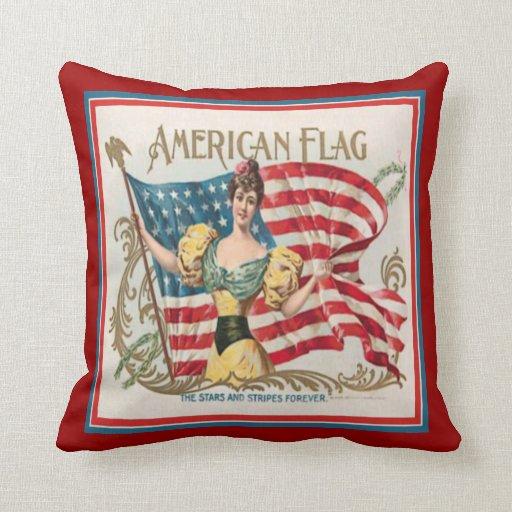 Vintage Cigar Box Label American Flag Pillow