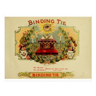 Vintage Cigar Box Label  BINDING TIE   (15) Postcard