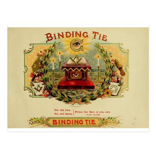 Vintage Cigar Box Label  BINDING TIE   (15) Postcard