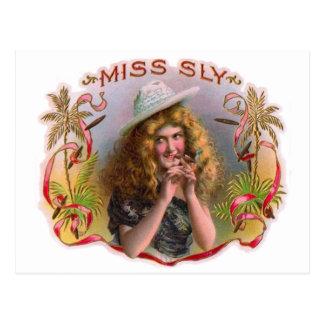 Vintage Cigar Box Label Miss Sly Cigars Postcard