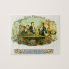 Vintage Cigar Label Art, Club Friends Billiards Jigsaw Puzzle