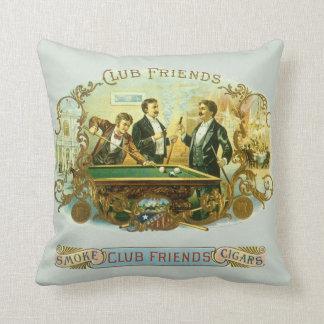 Vintage Cigar Label Art, Club Friends Billiards Throw Pillow