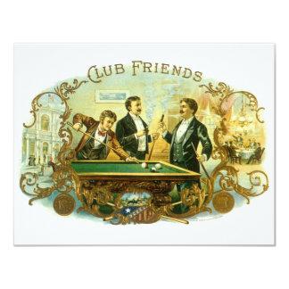 Vintage Cigar Label Art, Club Friends Invitation