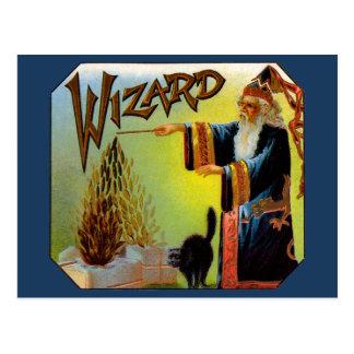 Vintage Cigar Label Art Magic Act, Wizard Cigars Postcard