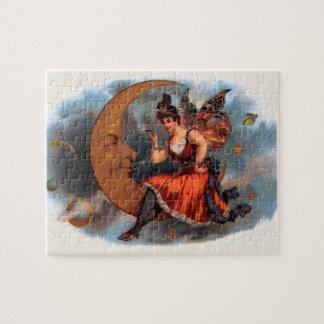 Vintage Cigar Label Art, Victorian Fairy on Moon Puzzle