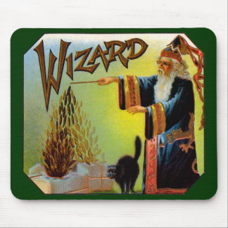 Vintage Cigar Label Art, Wizard with Black Cat Mouse Pad