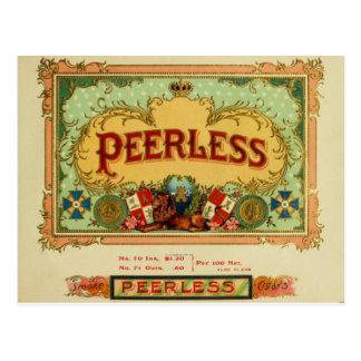"Vintage Cigar Label Postcard - ""Peerless"""