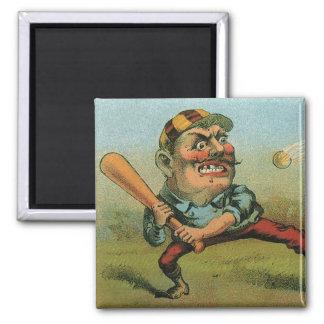 Vintage Cigar Label, Sports Baseball Tansill Punch Square Magnet
