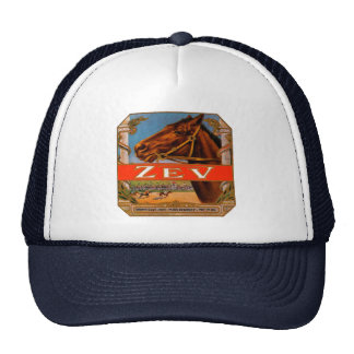 Vintage Cigar Label, Zev Cigars with Racing Horses Trucker Hat