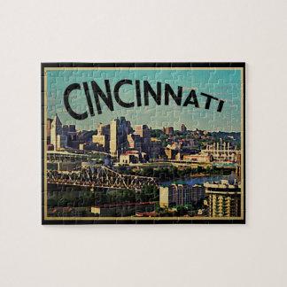 Vintage Cincinnati Skyline Jigsaw Puzzle