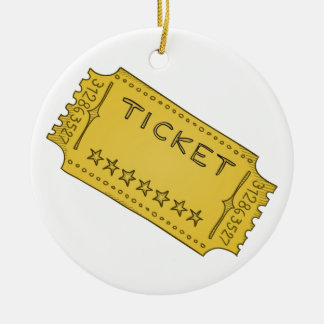 Vintage Cinema Ticket Ceramic Ornament
