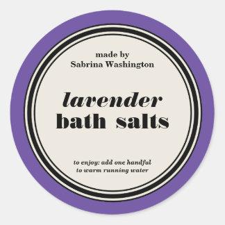 Vintage Circle Frame Bath Salts Label Template Round Sticker