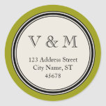 Vintage Circle Frame Return Address Seal Template Round Sticker