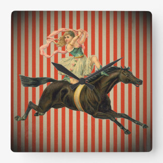 vintage circus acrobat & horse clock