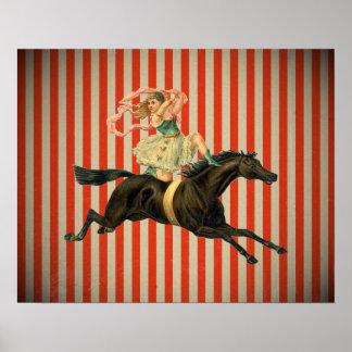 vintage circus acrobat riding horse poster