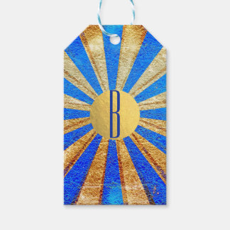 Vintage Circus Carnival Royal Blue Gold Foil Party Gift Tags