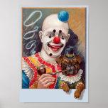 Vintage Circus Clown with his Circus Pug Dog Poste Poster