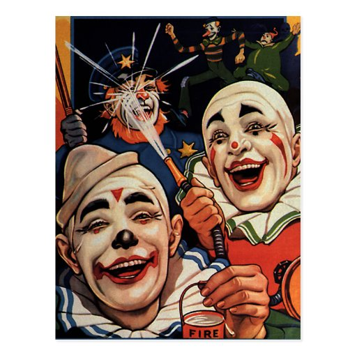 Vintage Circus Clowns, Silly Funny Humorous Post Cards