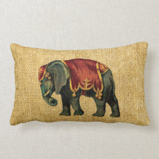 Vintage Circus Elephant and Bear Lumbar Pillow