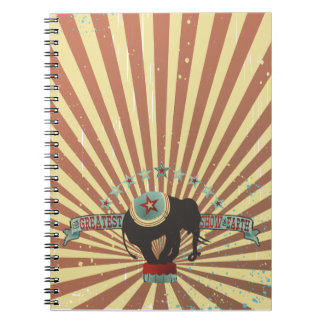 Vintage circus elephant carnival stripes small spiral note book