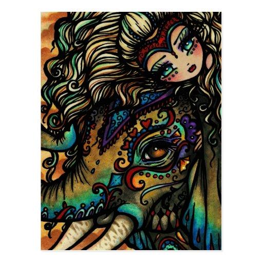 Vintage Circus Elephant Fairy Fantasy Art Girl Post Cards
