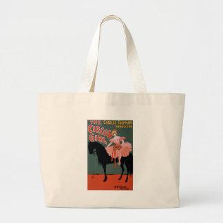 Vintage-Circus-Girl-Poster Large Tote Bag