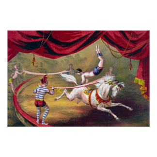 Vintage Circus Horse and Clowns in Ring  Acrobat Poster