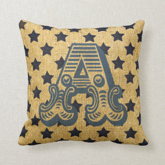 Vintage Circus Letter A Throw Pillow